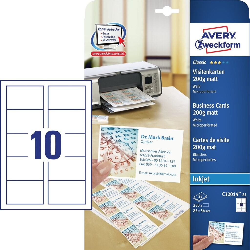 Wizytówki Z Mikroperforacją C32014 25 Avery Zweckform