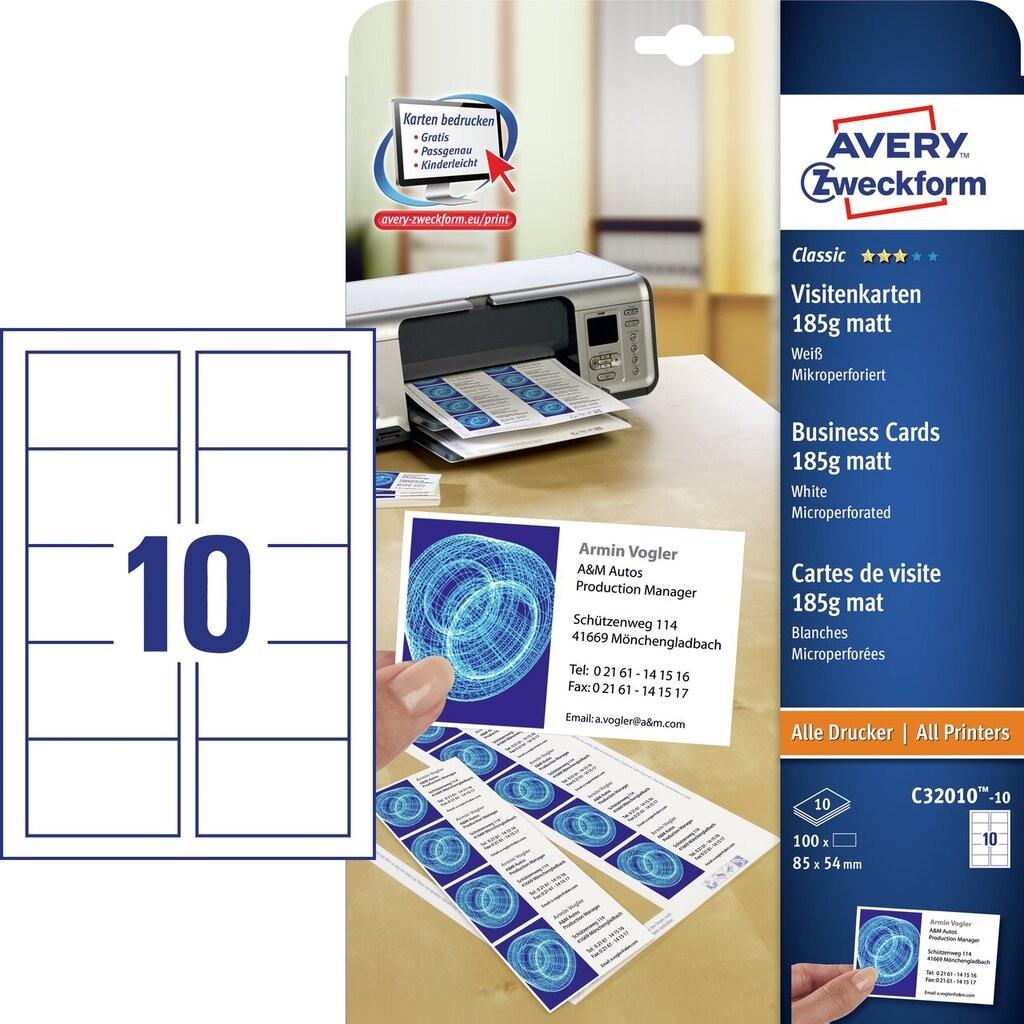 Wizytówki Dwustronne Z Mikroperforacją C32010 10 Avery
