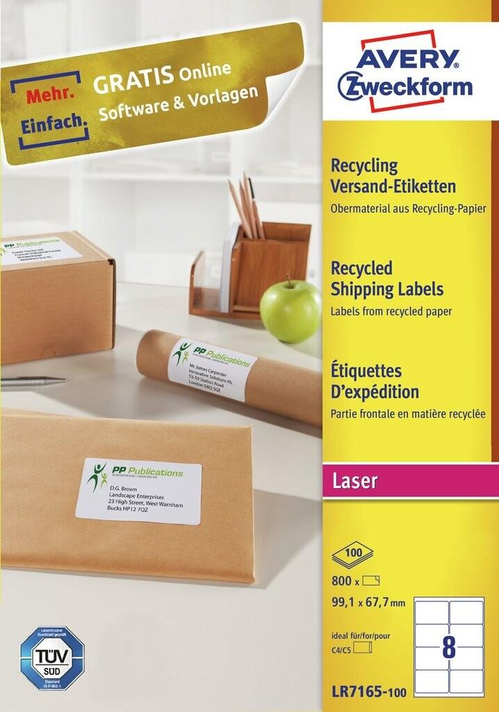 Recyklingowane etykiety adresowe lr7165 100 avery for 99 1 x 67 7 mm label template