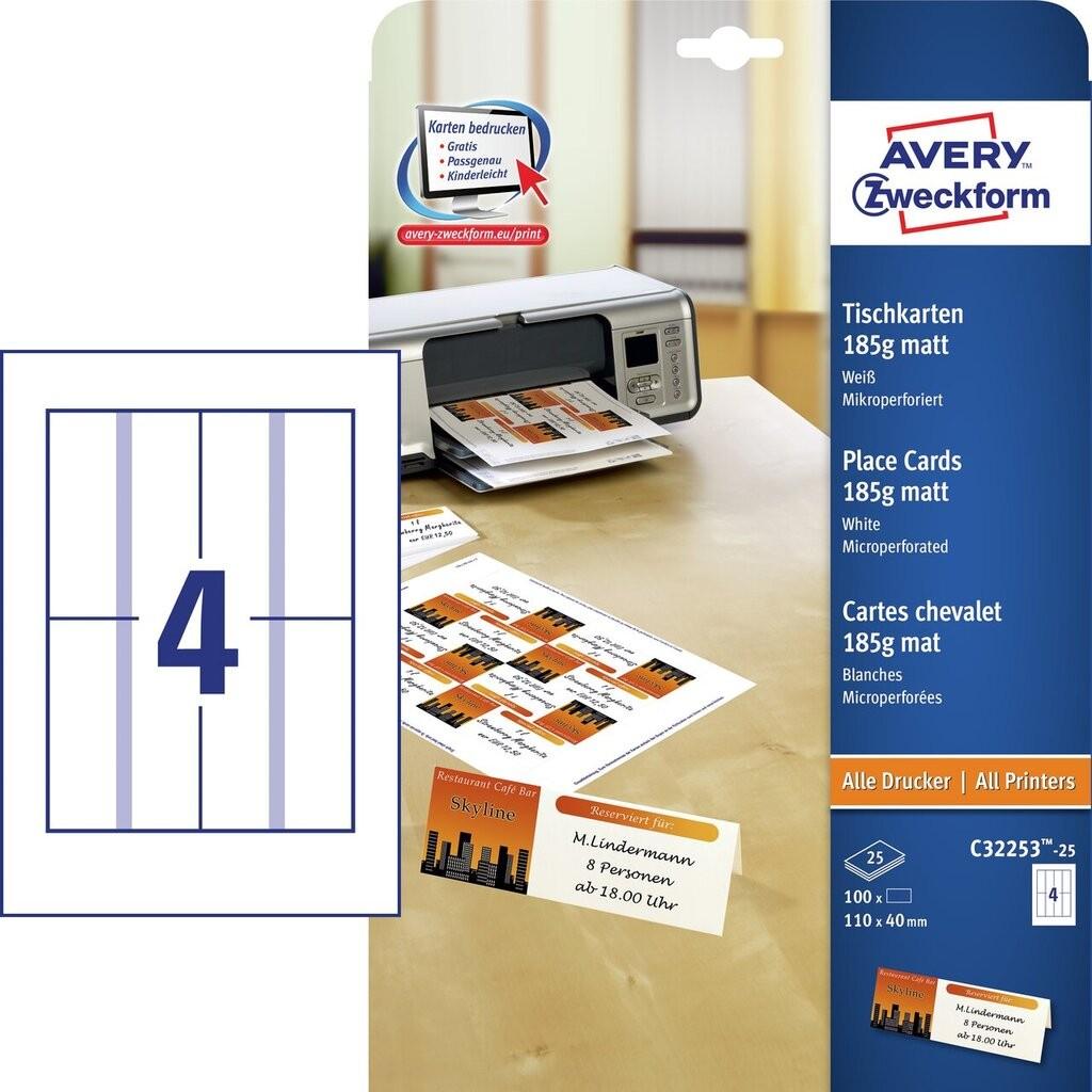 Wizytówki Na Stół C32253 25 Avery Zweckform