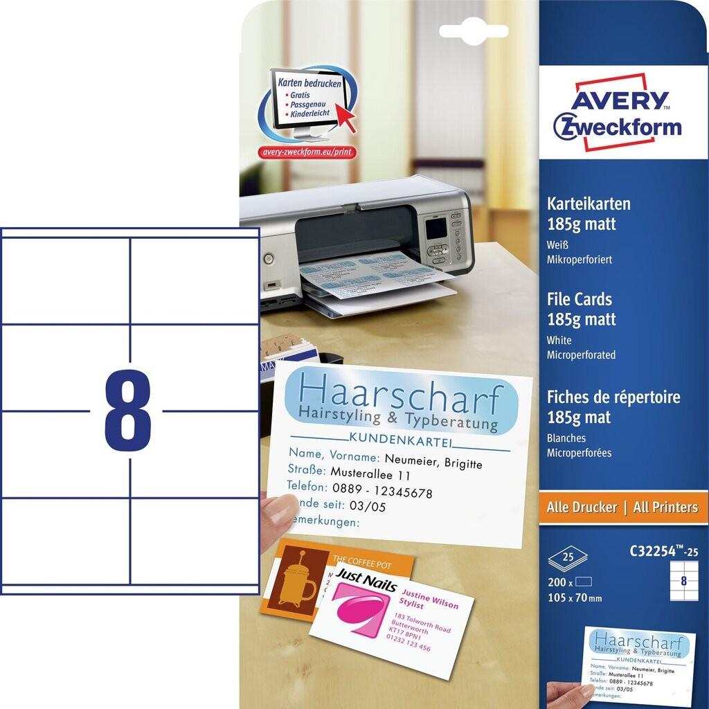 Karty Katalogowe C32254 25 Avery Zweckform